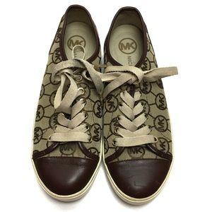 Michael Kors Monogram Jaquard Mocha Tan Sneakers
